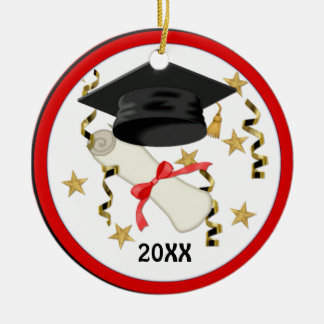 Black Mortar and Diploma Graduation Round Ceramic Decoration