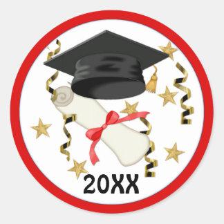 Black Mortar and Diploma Graduation Round Sticker