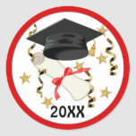 Black Mortar and Diploma Graduation Round Stickers