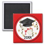 Black Mortar and Diploma Graduation Square Magnet
