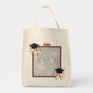 Black Mortar and Diploma Graduation Grocery Tote Bag