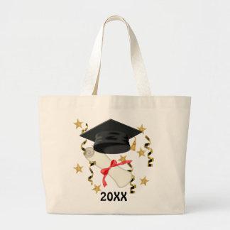 Black Mortar and Diploma Graduation Jumbo Tote Bag