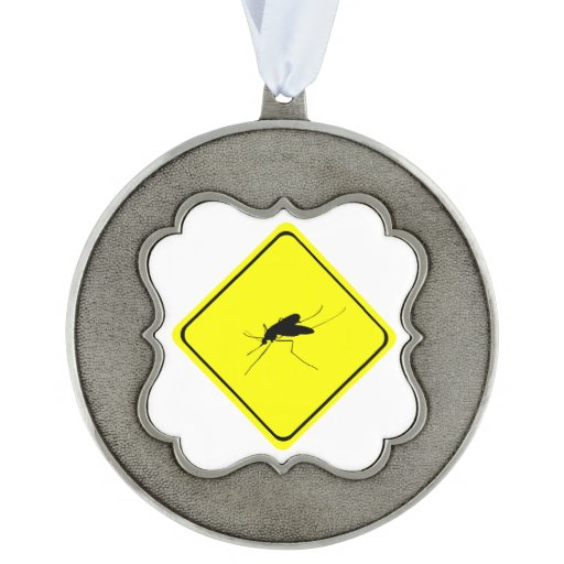 Black Mosquito Silhouette Yellow Crossing Sign Scalloped Pewter Ornament
