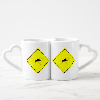 Black Mosquito Silhouette Yellow Crossing Sign Lovers Mug