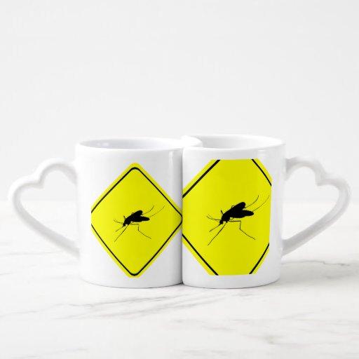 Black Mosquito Silhouette Yellow Crossing Sign Lovers Mug Set
