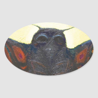 Black Moth (surreal insect painting) Oval Sticker
