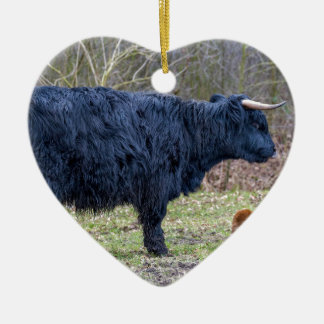 Black mother scottish highlander cow with calf ceramic heart decoration