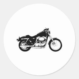 Black Motorcycle Round Sticker