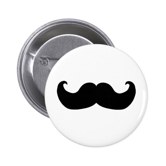 Black Moustache 6 Cm Round Badge