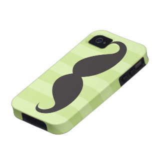 Black moustache and green stripes iPhone 4 case