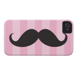 Black moustache and pink stripes iPhone 4 case