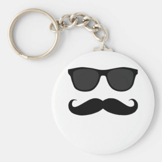 Black Moustache and Sunglasses Humour Gift Basic Round Button Key Ring