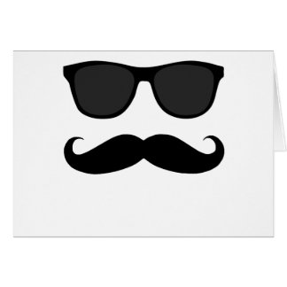 Black Moustache and Sunglasses Humour Gift Card