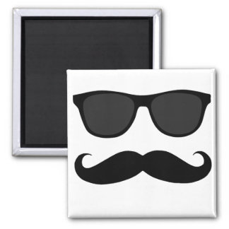 Black Moustache and Sunglasses Humour Gift Magnet