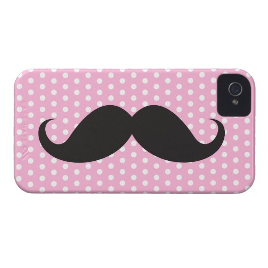 Black moustache chic pink polka dot trendy iPhone 4 Case-Mate case