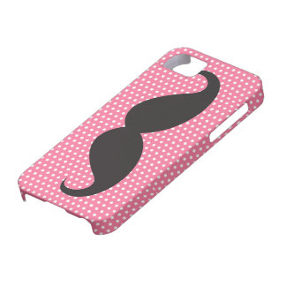 Black moustache chic pink polka dots funny trendy iPhone 5 cases
