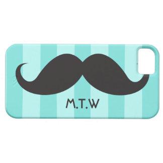 Black moustache monogram aqua iPhone 5 case