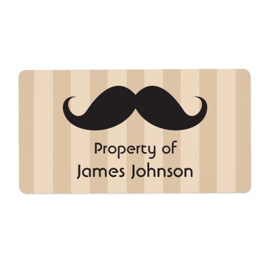 Black moustache on brown stripes property labels