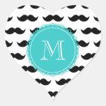 Black Moustache Pattern, Teal Monogram Heart Sticker