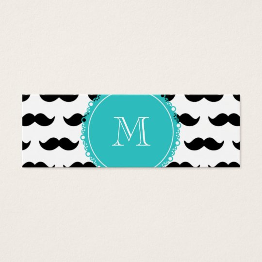 Black Moustache Pattern, Teal Monogram Mini Business Card