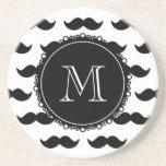 Black Moustache Pattern, Your Monogram