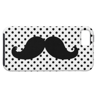 Black Moustache Polka Dots Tough iPhone 5 Case