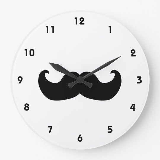 Black Moustache wall clock with numbers