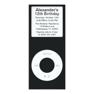Black MP3 Player iParty Birthday Party Custom Announcements