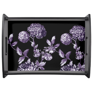 Black Mulberry Purple Vintage Floral Toile Serving Tray