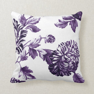 Black Mulberry Purple & White Floral Toile No.2 Cushion
