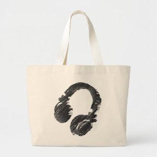 black music deejay headphone large tote bag