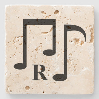 Black music notes and monogram stone coaster