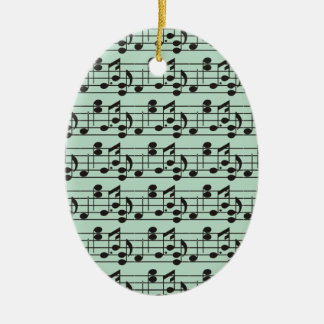 Black Music Notes on Green Background Ceramic Oval Decoration