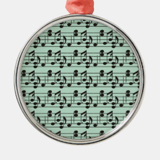 Black Music Notes on Green Background Silver-Colored Round Decoration