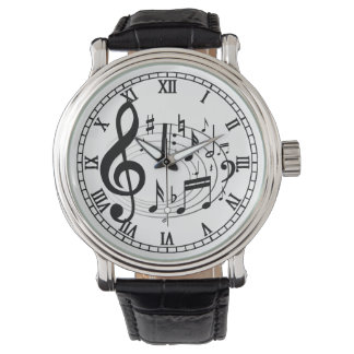 Black Musical Notes in Oval Shape designer watches