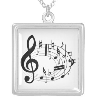 Black musical notes in oval shape silver plated necklace