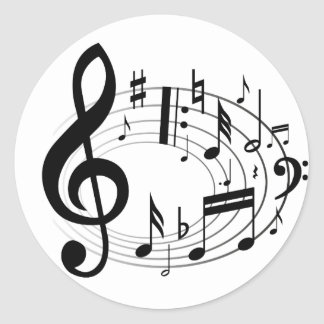 Black musical notes in oval shape round sticker
