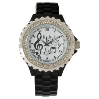 Black Musical Notes in Oval Shape Watch