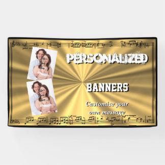 Black musical notes on golden gold banner