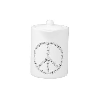 Black Musical Notes Round Peace Sign