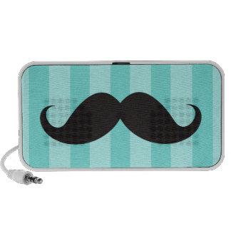 Black mustache and aqua stripes custom speakers