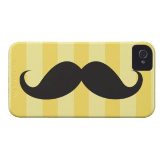 Black mustache and yellow stripes iPhone 4 case