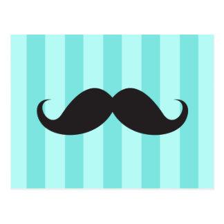 Black mustache aqua stripes funny postcard