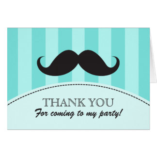 Black mustache aqua stripes thank you card