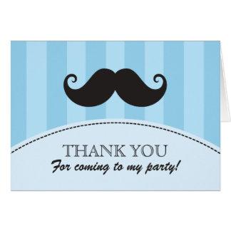 Black mustache blue stripes thank you card