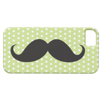 Black mustache chic lime green polka dot trendy iPhone 5 cases