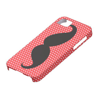 Black mustache chic pale red polka dot trendy iPhone 5 case