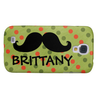 Black Mustache Green Red Polka Dots Name Galaxy S4 Case