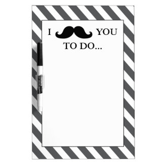 BLACK MUSTACHE | GREY STRIPES DRY ERASE BOARD