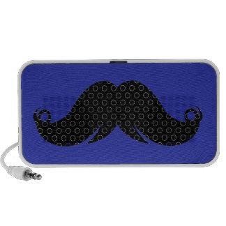 Black Mustache on Blue Background Travelling Speaker